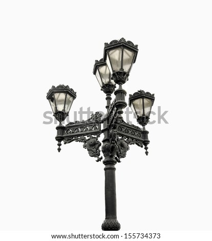 Street lamp isolated  - stock photo