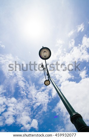 street lamp light with blue sky background - stock photo