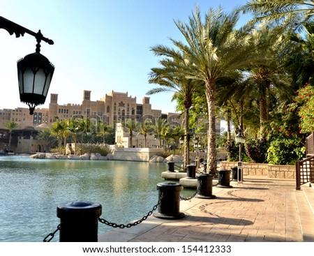 Street lamp on a background of park Dubai, United Arab Emirates - stock photo