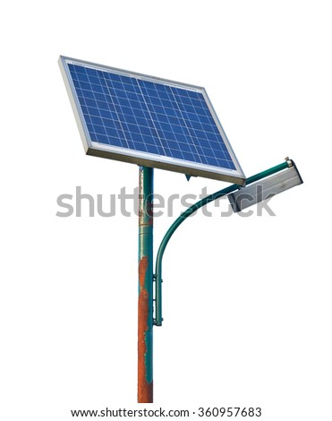 Street lamp powered by solar batteries, panel with a battery included - stock photo