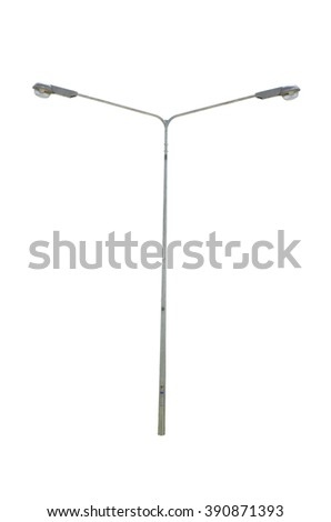 street lamppost isolated on a white background - stock photo