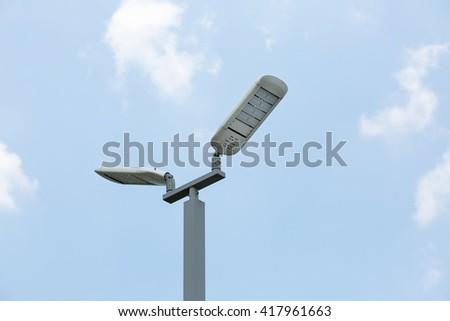 Street LED Lighting Technology back ground blue sky - stock photo