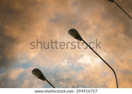 Street light against twilight background - stock photo