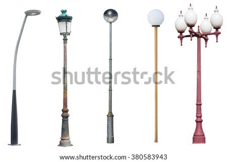 street light poles isolated on white background - stock photo