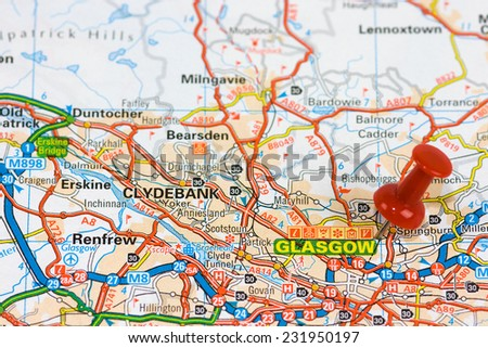 Street Map of  Glasgow with red pin - stock photo