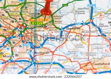 Street Map of Leeds with red pin - stock photo
