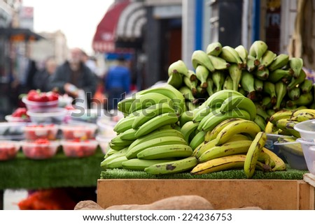 street market stall selling plantains.  - stock photo