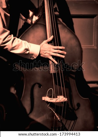 Street musician playing bass fiddle on New Orleans street in the French Quarter.. - stock photo