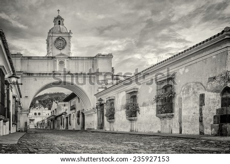 Street of arch at Antigua Guatemala - stock photo