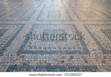 street of cobblestones - stock photo