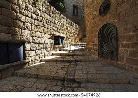 Street of old Jaffa, Israel - stock photo