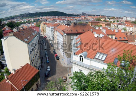 Street of old Prague. Bird eye view. - stock photo