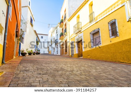 Street of the old town in the center of Calpe. Alicante. Spain. - stock photo