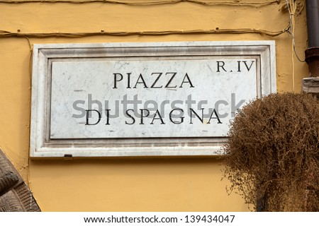 Street plate of famous Piazza di Spagna. Rome. Italy. - stock photo