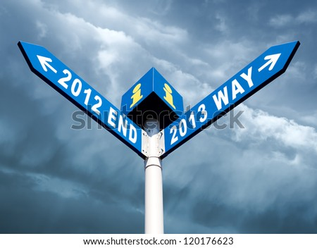 Street post with 2012 end and 2013 way signs - stock photo
