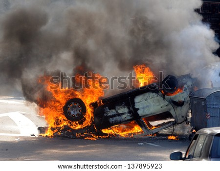 street riots - stock photo