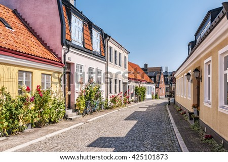 Street scene from the Swedish town of Ystad. - stock photo