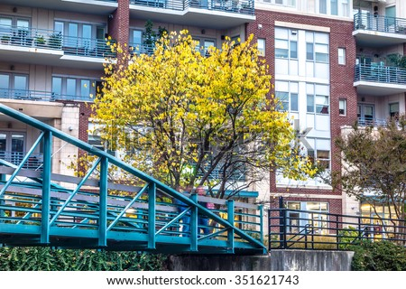 street scenes around falls park in greenville south carolina - stock photo