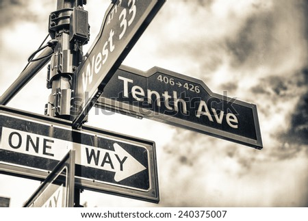 Street sign at the corner of 10th ave and 33rd st, Manhattan. - stock photo