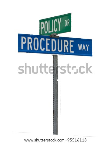 Street sign corner of Policy and Procedure - stock photo