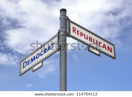 Street sign in crossroad with illustration choice for Democrats and Republicans in US elections. - stock photo