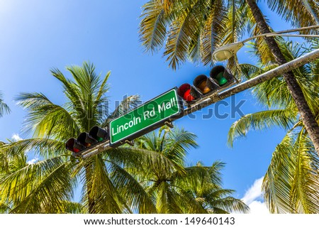 street sign Lincoln Road Mall in Miami Beach, the famous central shopping mall street in the art deco district - stock photo