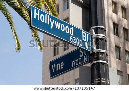 Street sign marking the famous intersection of Hollywood and Vine Streets in Los Angeles, California - stock photo