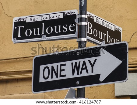 Street sign of New Orleans most famous street Bourbon street at French Quarter - NEW ORLEANS, LOUISIANA - APRIL 18, 2016  - stock photo