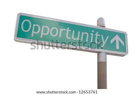 "Street sign with an arrow and the word ""opportunity"" - stock photo"