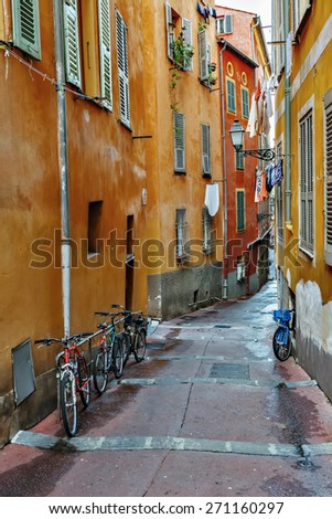 Street the old town of Nice, France - stock photo