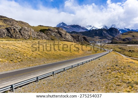 street to El chalten in Patagonia - stock photo