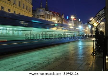 street train in Zagreb at dusk - stock photo