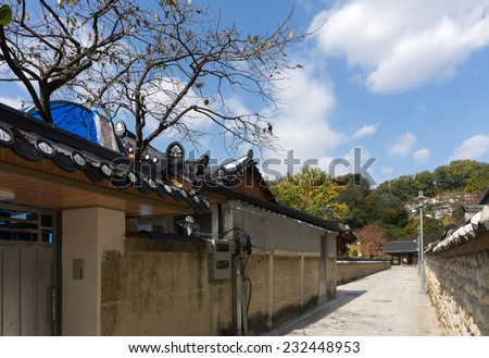 Street view, gardens and traditional houses Jeonju Hanok Village. The architecture is based on the traditional Korean 'hanok' houses - stock photo