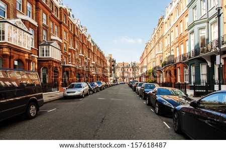 Street view in the morning - stock photo