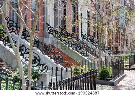 Street view of Boston South End in early spring - stock photo