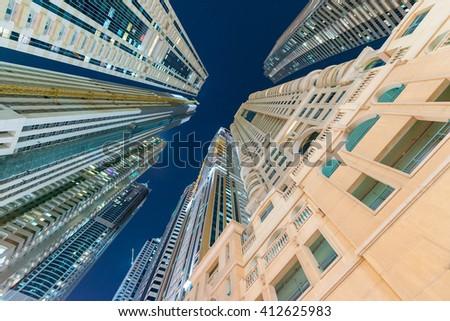 Street view of Dubai Marina skyline - UAE. - stock photo