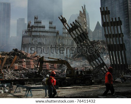 Street View of Ground Zero Ruins, World Trade Center on 9-18-2001 - stock photo