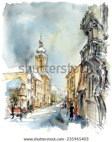 Street with a church, winter theme, watercolor - stock photo