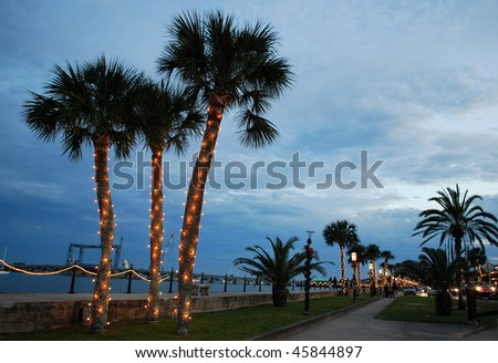 Street with Christmas decorations, St. Augustine, Florida, USA - stock photo