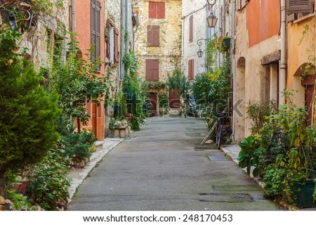 Street with flowers in the old town in France. - stock photo