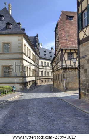 Street with historical buildings in the old center of Bamberg, Germany - stock photo