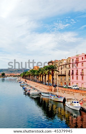 Street with palm trees along the coast in bosa, sardegna, vertical - stock photo