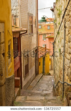 street with stairs in down town of Porto, Portugal - stock photo
