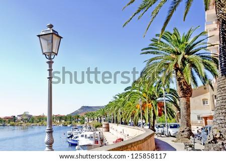 streetlamp along the Temo river in Bosa, Sardinia - stock photo