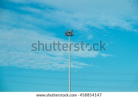 Streetlight, Streetlamp, Lamp post on blue sky - stock photo