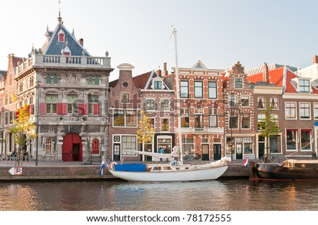 streets and canals of Haarlem, Netherlands - stock photo