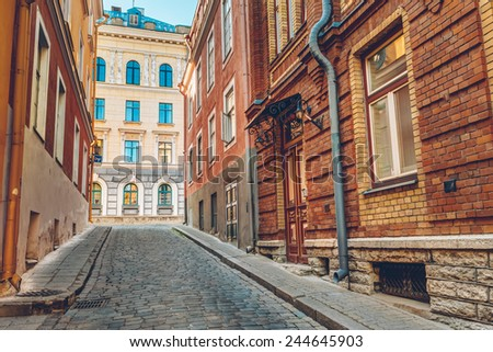 Streets And Old Town Architecture Estonian Capital, Tallinn, Estonia - stock photo