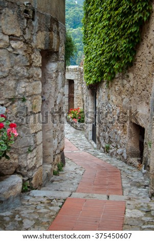 streets of ancient town of  Eze, south  France - stock photo