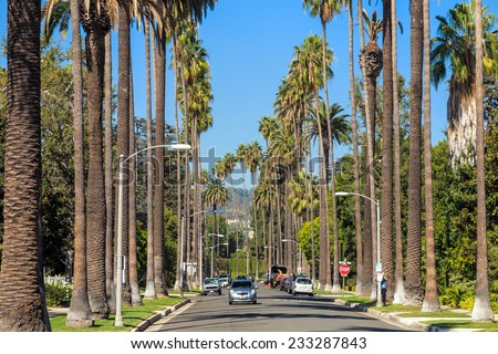 Streets of Beverly Hills, California - stock photo