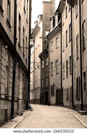 Streets of Gamla Stan in Stockholm, Sweden. - stock photo